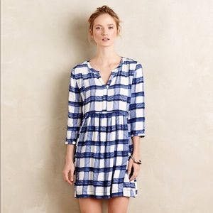 Anthropologie Maeve Blue and White Gingham Dress
